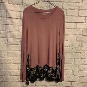 LOGO medium desert rose black lace trim tunic 5884